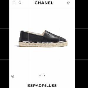 Authentic Chanel Espadrilles Black Leather 41